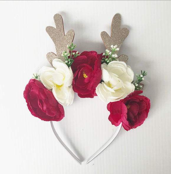 Reindeer red and white headband