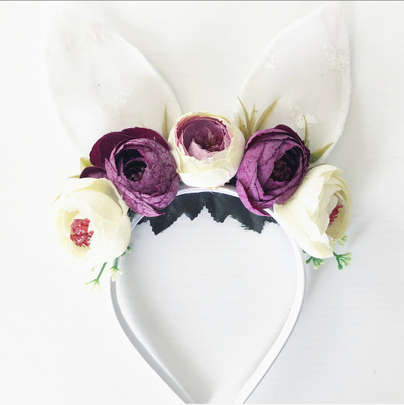 White and purple floral bunny headband