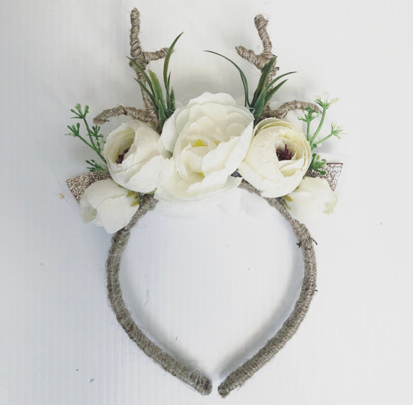 Reindeer white natural twig headband
