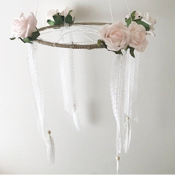 Handmade dreamcatcher mobile roses