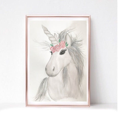 Unicorn watercolour print