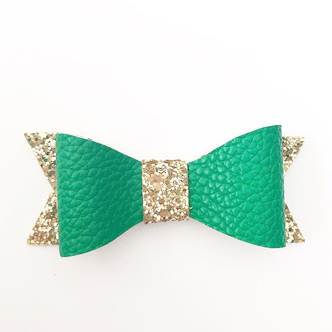 Green and gold faux leather bow