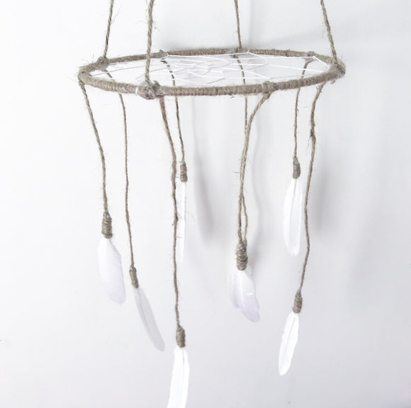Jute feather dreamcatcher mobile