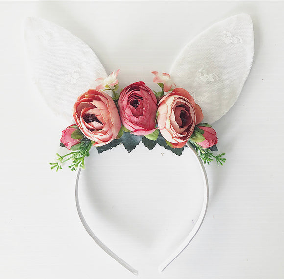 Red floral bunny headband