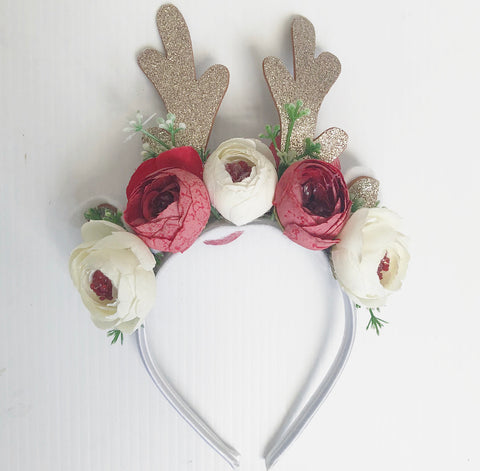 Reindeer white and red floral  headband