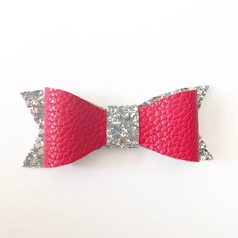Red and silver faux leather bows