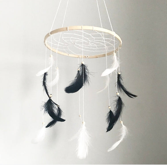 Handmade dream catcher feather mobile