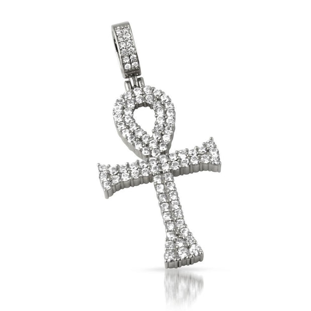 HipHopBling the double bling ankh cross cz iced out rhodium pendant hip hop bling WaxiStash