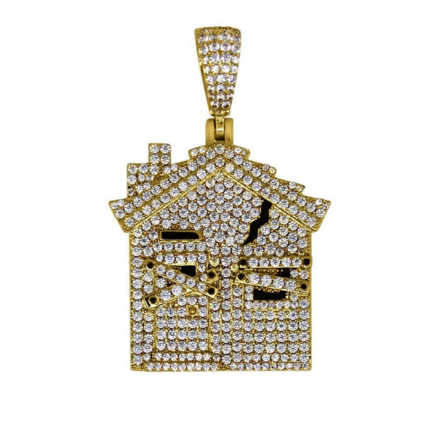 HipHopBling trap house gold bling bling pendant hip hop bling WaxiStash