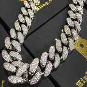 HipHopBling white gold 19mm cuban link iced out cz chain jewelry WaxiStash