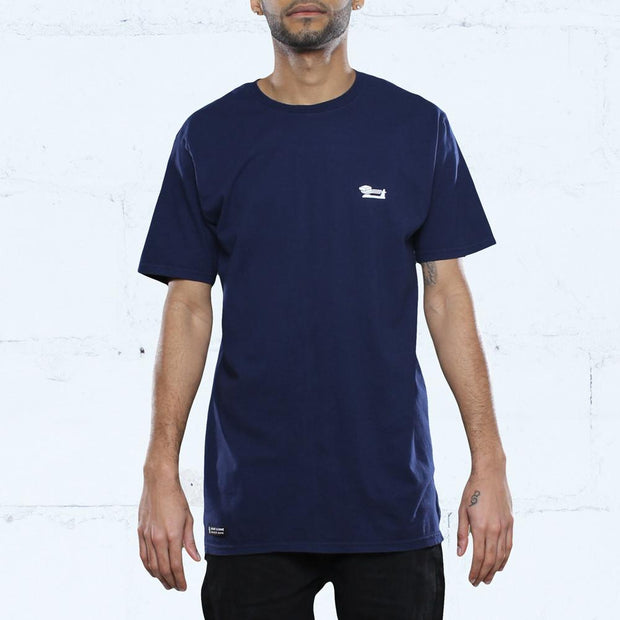 Triple Beam Long Line T-Shirt Navy