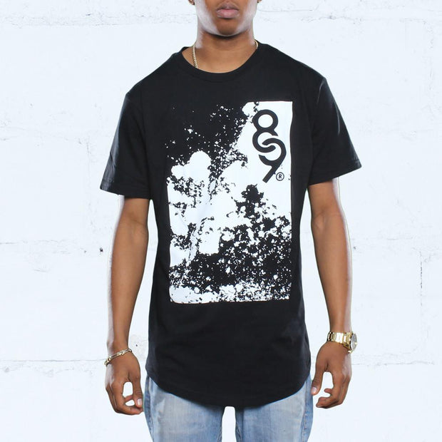 Blow Curved Hem T Shirt Black