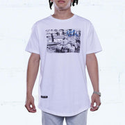 Lobster Bricks Curved Hem Tee White