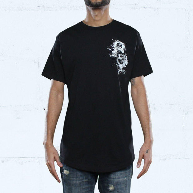 Snare Keys Curved Hem T Shirt Black