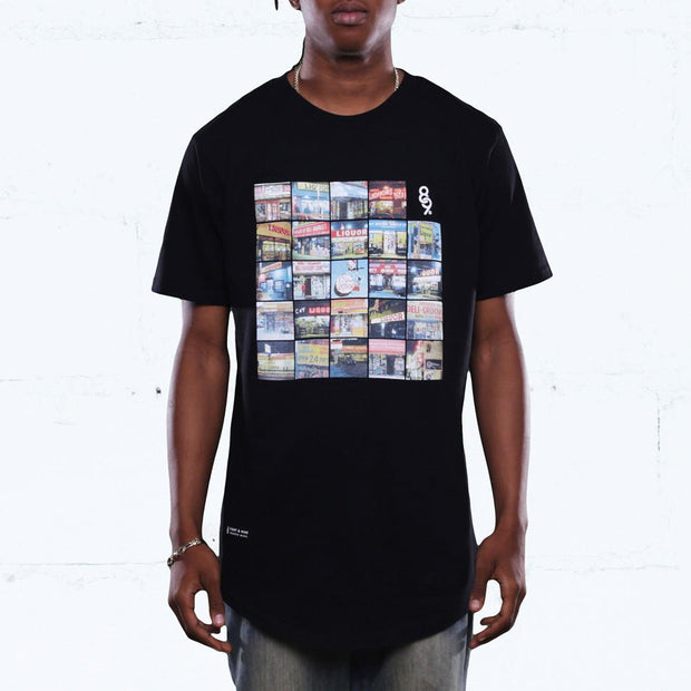 Liquors vs Bodega Block Curved Hem T Shirt Black