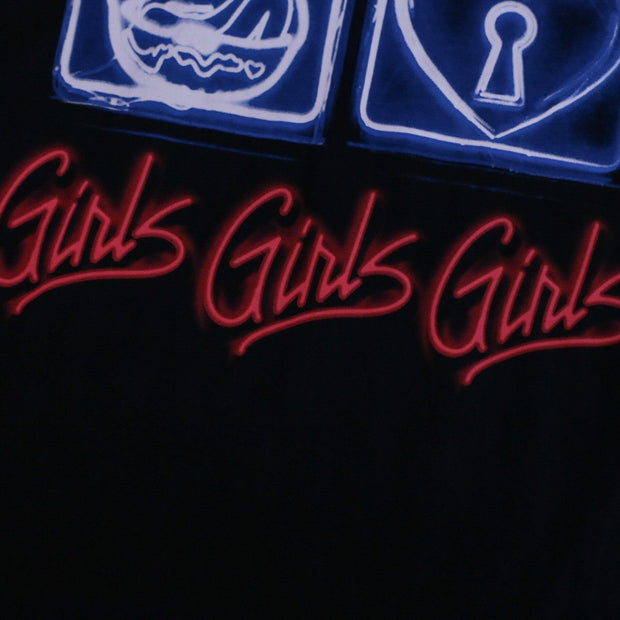 Girls Girls Girls Long Line T Shirt Black