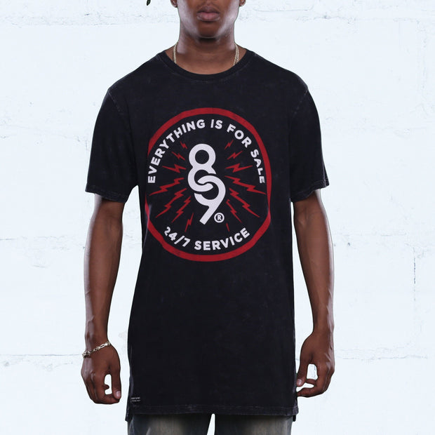 24/7 Service Black Long Line T Shirt