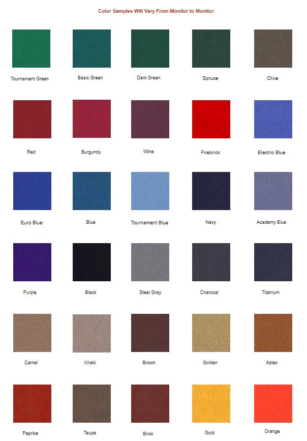 Great American Eagle Billiards Table Custom Cloth Colors