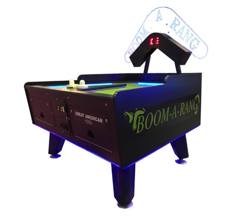Great American Boom-A-Rang Air Hockey Table with Electronic Scoring - Coin-Operated or Non-Coin Operated
