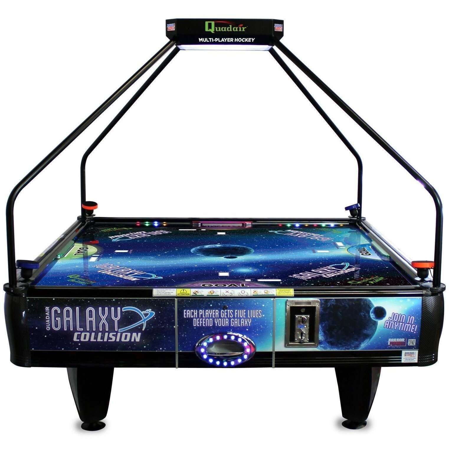 Barron Games Galaxy Collision Quad Air Hockey Table With Topper