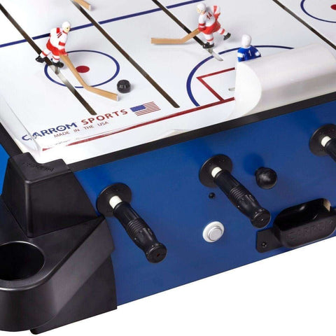Image of Carrom Signature Stick Hockey Table With A Pedestal In Blue-Carrom-The Rec Room Game Company