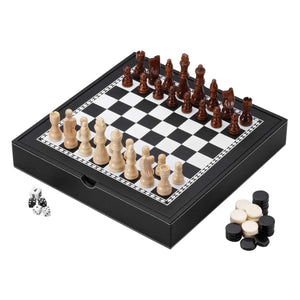 Mainstreet Classics 3-in-1 Game Set - Chess, Checkers, & Backgammon with Storage