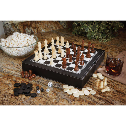 Mainstreet Classics Chess - Checkers - Backgammon with Storage-Mainstreet Classics-The Rec Room Game Company