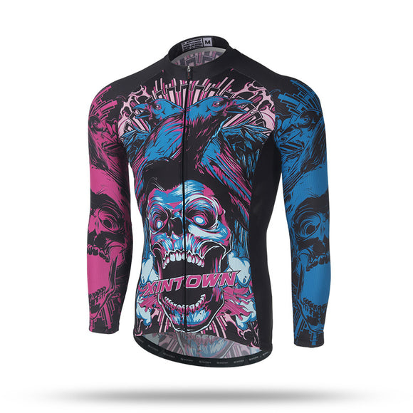 Blue and Purple Skull Long Sleeve Cycling Jersey