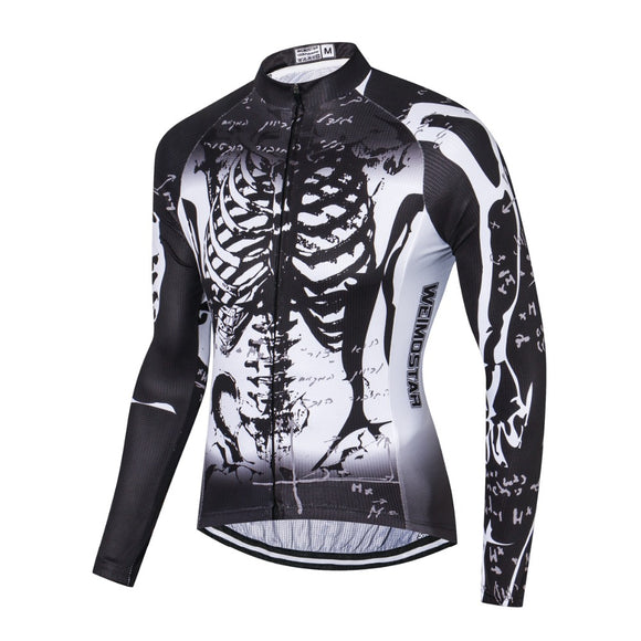 Black White Skeleton Long Sleeve Cycling Jersey