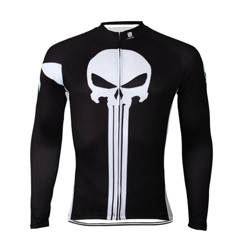 Black and white Punisher Men's Long Sleeve Cycling Jersey