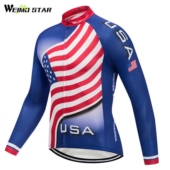 USA Mens Long Sleeve Cycling Jersey