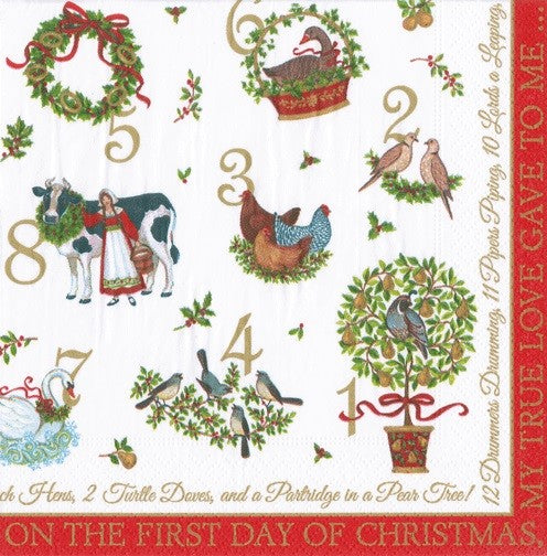 LUNCH NAPKINS ON THE 12TH DAY - CHRISTMAS