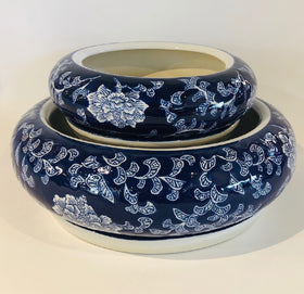 PLANTER BOWL BLUE WITH WHITE LARGE