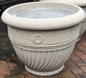 ROUND WHITE SANDSTONE DECORATIVE POT RD2