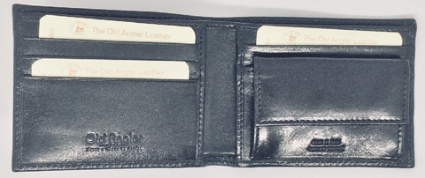 LEATHER WALLET WITH COIN POCKET MENS BLACK