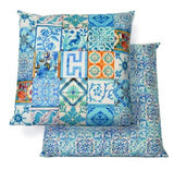 WATERPROOF CANVAS CUSHION TURQUOISE TILE
