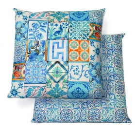 OUTDOOR CUSHION TURQUOISE TILE - WATER RESISTANT CANVAS