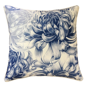 OUTDOOR CUSHION HAMPTONS WHITE WITH NAVY FLOWERS 45X45CM
