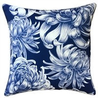 OUTDOOR CUSHION HAMPTONS NAVY WITH WHITE FLOWERS 45X45CM