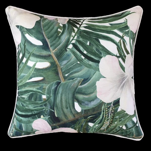 OUTDOOR CUSHION SAVANNA LEAVES & HIBISCUS 45X45CM