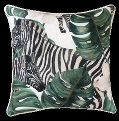 OUTDOOR CUSHION SAVANNA LEAVES & ZEBRAS 45X45CM