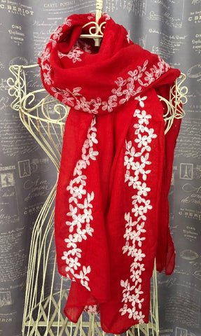 SCARF RED WITH WHITE EMBROIDERED DAISY CHAIN DESIGN