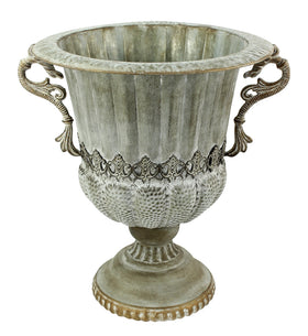VICTORIAN METAL URN WITH HANDLES