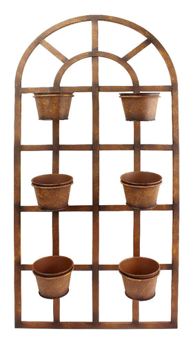 METAL WALL PLANTER WITH SIX POTS - RUSTY COLOUR