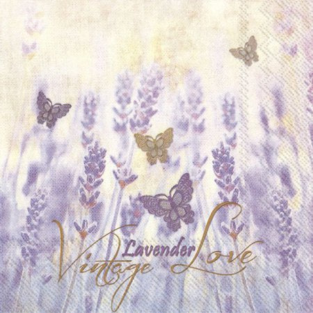 LUNCH NAPKINS VINTAGE LAVENDER LOVE