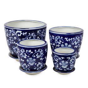 BLUE & WHITE ROUND POT IRIS LARGE