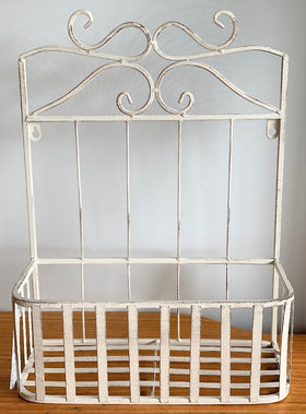 WALL BASKET ANTIQUE WHITE - MEDIUM