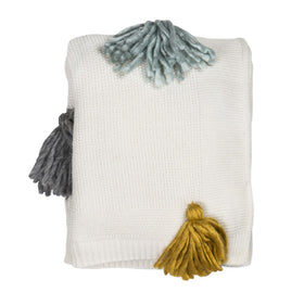 PENLEY THROW - NATURAL WITH MULTI COLOURED TASSELS 125X150MM
