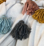 PENLEY THROW NATURAL WITH MULTI COLOURED TASSELS 125X150MM