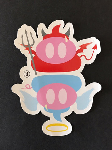 The Angel Pig vs Devil Pig Sticker